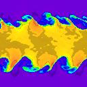 128 x 128 cells - density, t=5.0