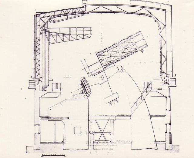 "1950s: An early blueprint of the 74"" reflector telescope"