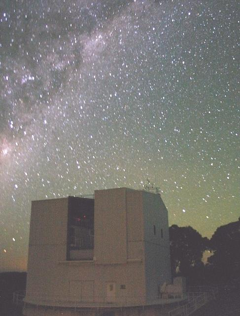 Looking south-east to the constellations of Centaurus and Scorpius behind the ANU 2.3m telescope building