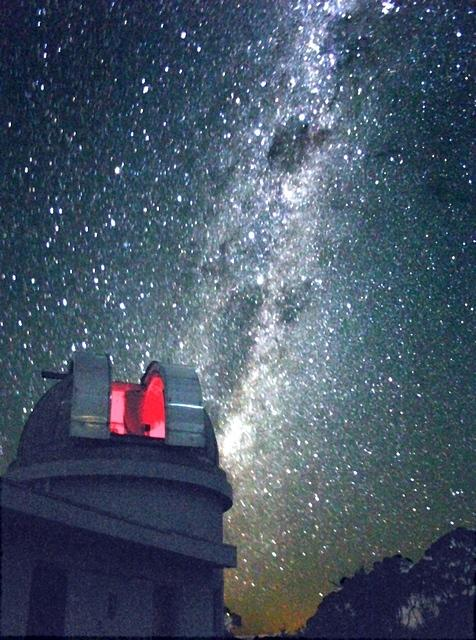 The Milky Way in the region of the Southern Cross (Crux) and Centaurus rising in the south-east behind the 24-inch dome