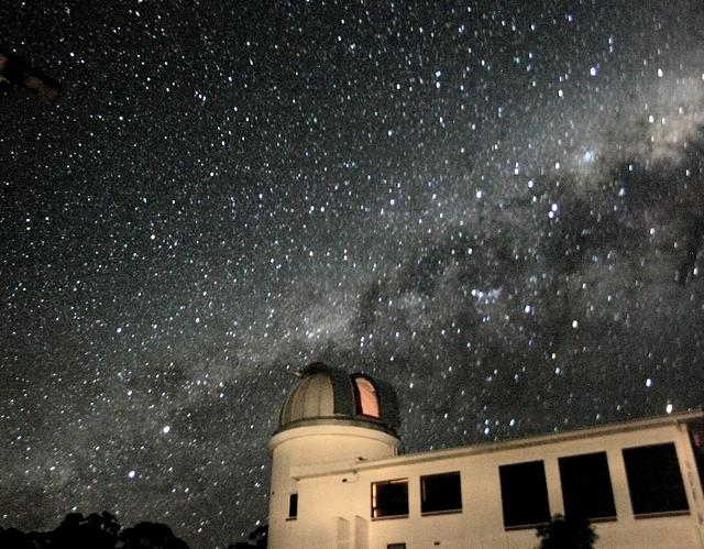 The southern Milky Way from Centaurus to Scorpius setting behind the ANU 24-inch telescope building.