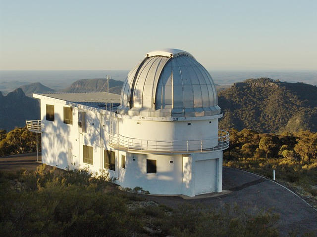 Siding Spring Observatory's 40 inch telescope (external shot with mountains)