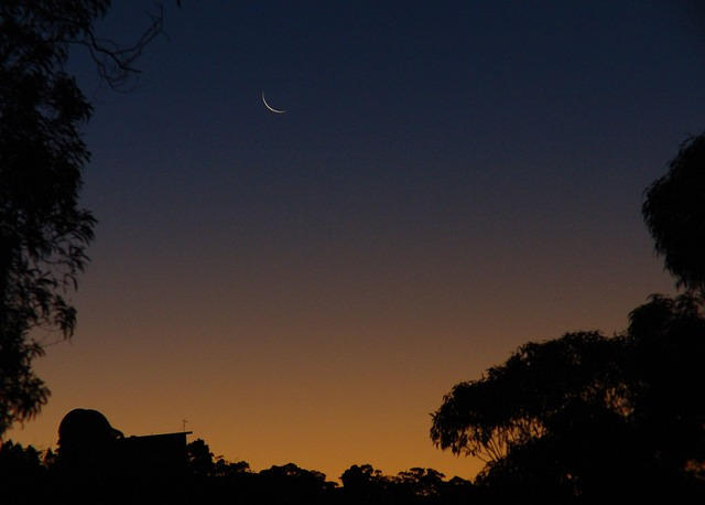 Siding Spring Observatory's 40 inch telescope (moon at sunset)