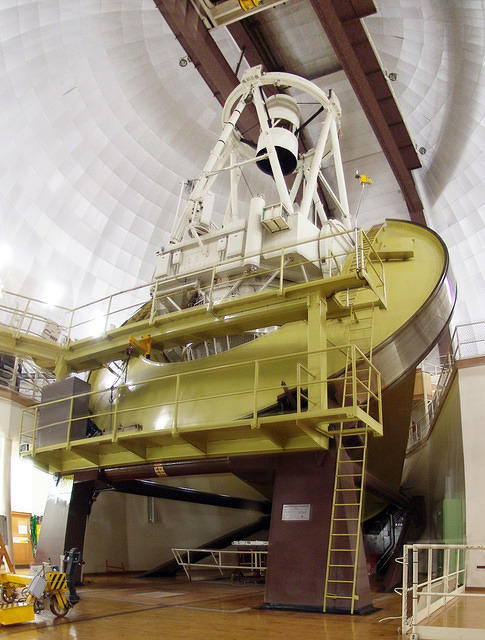 Siding Spring Observatory's Anglo Australia Telescope (inside from visitor's gallery)
