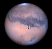 Mars with south polar ice cap at top