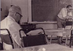 "1959: Bart Bok attending a ""Scientific Russian"" course given by the Observatory Librarian,  Alex Lojkhine"