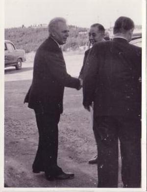 "1957: Professor Bart Bok welcomes the Japanese Prime Minister, Nobusuke Kishi, and staff  to the 74"" dome and telescope"
