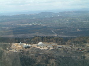 View of Stromlo's Yale-Columbia, Visitors Centre, 74-inch and workshops