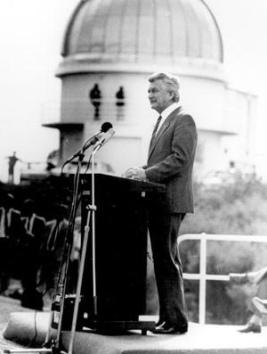 Prime Minister Bob Hawke opens the 2.3m ATT, 3 May 1985