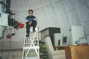 "A very young Christoph at the 30"" Reynolds telescope"