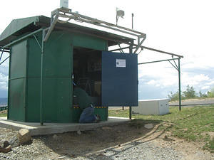 "The TARDIS, a roll-off roof shed at Stromlo formerly used to house the automatic weather station for the 50"" telescope"