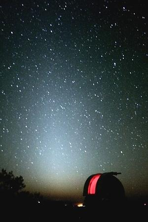 The Zodiacal light seen above the eastern horizon nearly two hours before sunrise